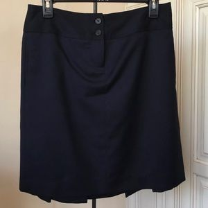 J Crew Navy Blue Wool Pleated Skirt w/ Pockets - 4